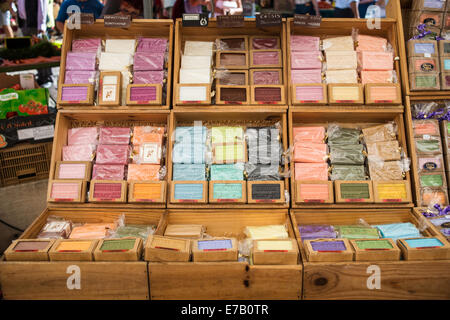 Savon de Marseille - Locally produced soap on display at a saturday Market, Beaune, Bourgogne, France - Stock Photo