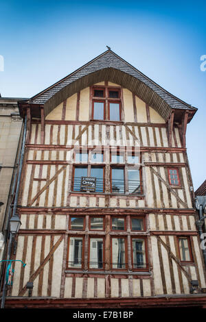 medieval half-timbered houses in a row in the old town of Troyes, Aube, Champagne-Ardenne, France. - Stock Photo