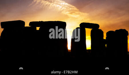 Stonehenge, Wiltshire, England, UK, at dusk, UNESCO World Heritage Site, attraction, ruins, stone, Britain, heritage, - Stock Photo