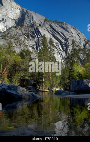 North west face of Half Dome, reflected in Mirror Lake, Yosemite National Park, California, USA - Stock Photo