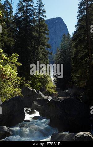 Merced River below Vernal Fall, The Mist Trail, Yosemite National Park, California, USA - Stock Photo