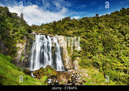 Marokopa Falls, North Island, New Zealand - Stock Photo