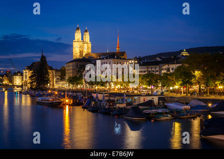The Old Town and the Limmat river at night, Zurich, Switzerland. - Stock Photo