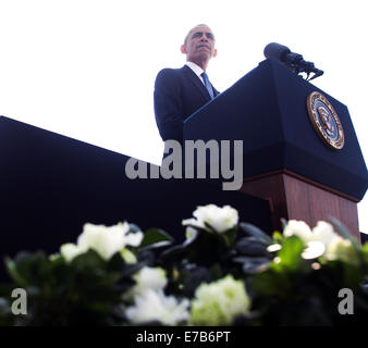 Washington DC, USA. 11th Sep, 2014. United States President Barack Obama makes remarks during a ceremony at the - Stock Photo