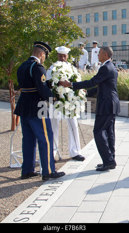 Washington DC, USA. 11th Sep, 2014. United States President Barack Obama lays a wreath at the Pentagon to mark the - Stock Photo