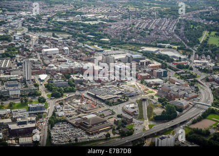 An aerial view of the centre of Oldham, Greater Manchester. - Stock Photo