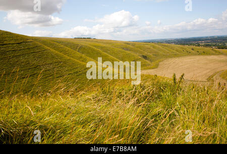 Steep chalk scarp slope and the Vale of the White Horse looking west from near Uffington castle,  Oxfordshire, England - Stock Photo