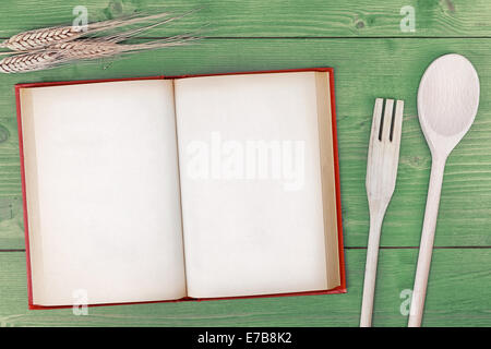 recipe book top view on wooden table - Stock Photo