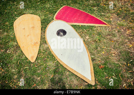 Collection of old medieval shields. - Stock Photo