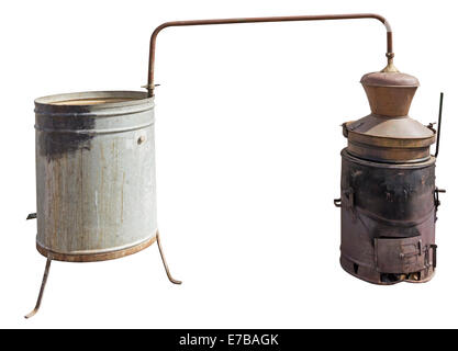 Old Copper boiler used to obtain a traditional brandy, isolated with Clipping Path - Stock Photo