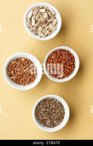mixed seeds: chia, flax seeds, red quinoa,sunflower seeds, - Stock Photo