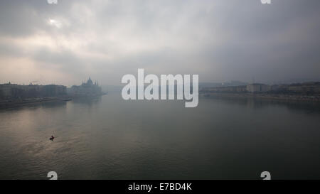 Budapest (Hungary) - A view of the city and the Danube river - Stock Photo