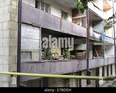 A residential building with balconies in disrepair in Shusha, Nagorno-Karabakh Republic, 25 June 2014. The Nagorno - Stock Photo
