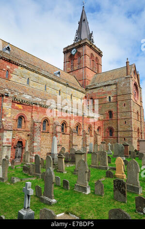 Cemetery in front of St. Magnus Cathedral, Kirkwall, Mainland, Orkney, Scotland, United Kingdom - Stock Photo