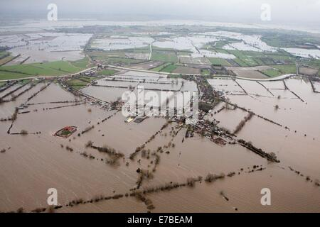 Aerial views of Moorland, on the flooded Somerset Levels. - Stock Photo