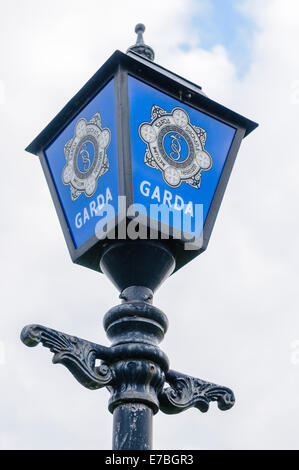 Blue lamp outside a Garda Siochana (Irish Police Force) station - Stock Photo