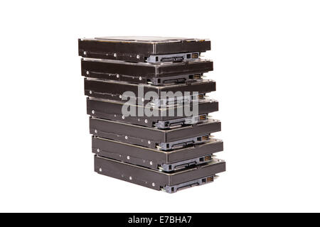 Stack of hard drives on a white background - Stock Photo