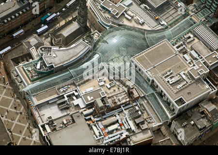 aerial view of the Trinity Leeds shopping centre, West Yorkshire, UK - Stock Photo