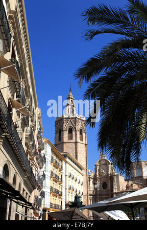 Plaza de la Reina with the El Miguelete bell tower, Cathedral Santa Maria, Valencia City, Spain, Europe. - Stock Photo