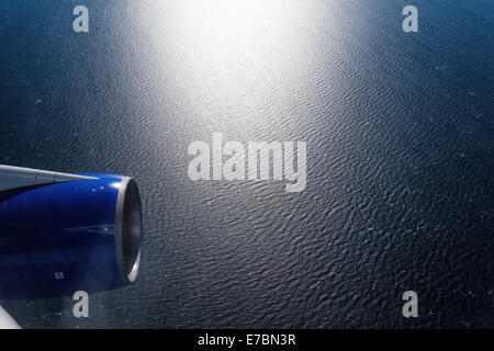 Beautiful sea view from airplane window - Stock Photo