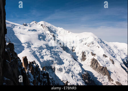 View of Mont Blanc summit from Aguille Du Midi, French Alps, France - Stock Photo