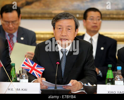 London, Britain. 12th Sep, 2014. Chinese Vice Premier Ma Kai presides the Sixth China-UK Economic and Financial - Stock Photo