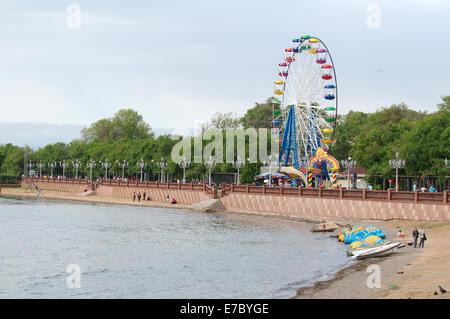 Embankment in Vladivostok, Sea of Japan, Far East, Primorye, Russia - Stock Photo