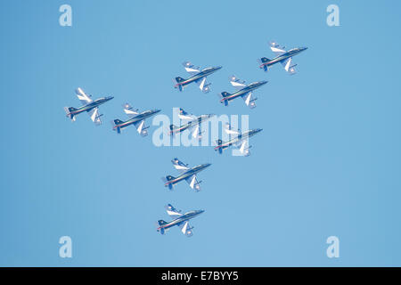 PAYERNE, SWITZERLAND - SEPTEMBER 7: Flight of Italian aerobatic team Frecce Tricolori in close formation on AIR14 - Stock Photo