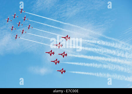 PAYERNE, SWITZERLAND - SEPTEMBER 7: Flight to celebrate 25th and 50th Anniversary of PC-7 and Patrouille Suisse - Stock Photo