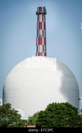 Reactor building of the nuclear power plant Leibstadt, Switzerland (canton Aargau). - Stock Photo