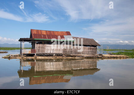 Floating village on the Tempe lake in Sulawesi, Indonesia - Stock Photo