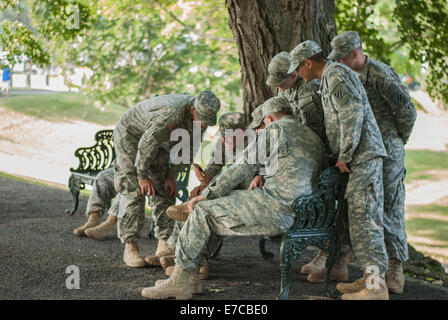 A group of United States Military Acedmy cadets enjoy a nice day on the West Point campus in New York - Stock Photo