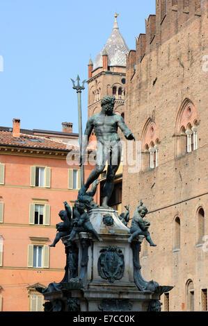 Fontana del Nettuno or 'Neptunes Fountain' on Piazza del Nettuno in Bologna - Stock Photo