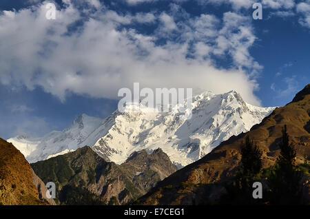 Rakaposhi Mountain in Hunza Valley, Pakistan - Stock Photo