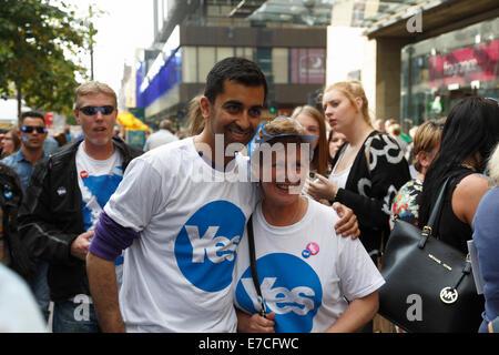 SNP MSP Humza Yousaf campaigning for Yes Votes during the Scottish Independence Referendum, Scotland, UK - Stock Photo