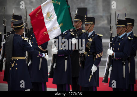 Mexico City, Mexico. 13th Sep, 2014. Cadets of the Military College take part in the ceremony to commemorate the - Stock Photo