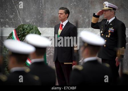 Mexico City, Mexico. 13th Sep, 2014. Mexican President Enrique Pena Nieto attends the ceremony to commemorate the - Stock Photo