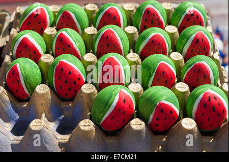 Egg shells filled with confetti & painted with different designs for sale at the 'fiesta', or 'Old Spanish Days' - Stock Photo