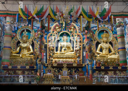 Lord Buddha at the centre, flanked by Lord Padmasambhava and Lord Amitayus on either side at Namdroling Monastery - Stock Photo