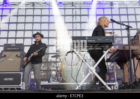 Chicago, Illinois, USA. 13th Sep, 2014. The band Metric performs live at 2014 Riot Fest music festival at Humboldt - Stock Photo