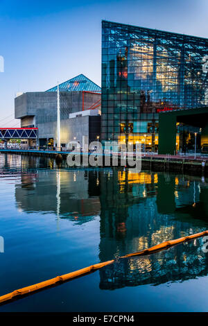 The National Aquarium at twilight, at the Inner Harbor in Baltimore, Maryland. - Stock Photo
