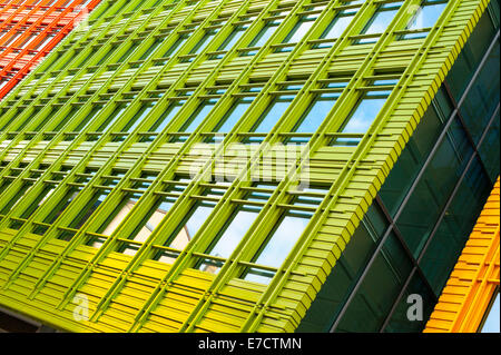 Colorful and abstract view of a modern office building - Stock Photo