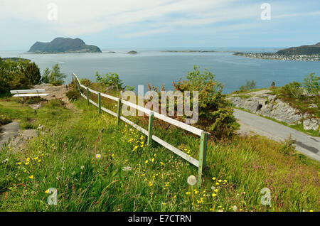 View from the top of Mount Aksla above Alesund, looking towards Godoy and other islands. - Stock Photo