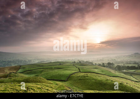 The View Across a Misty Teesdale at Sunrise From the Ancient Tumulus of Kirkcarrion, Lunedale, Teesdale, County, - Stock Photo