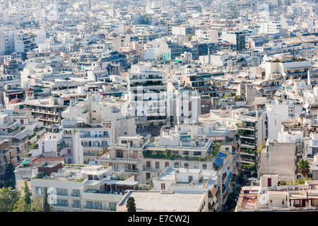 A panoramic view of the city in Athens, Greece. - Stock Photo