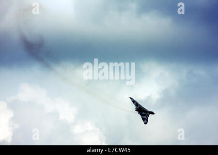 Avro 698 Vulcan B2  strategic bomber display at Farnborough International Airshow 2014 - Stock Photo
