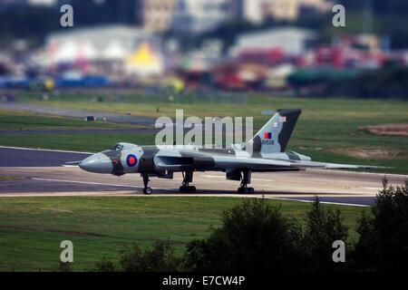 Avro 698 Vulcan B2  strategic bomber at Farnborough International Airshow 2014 - Stock Photo