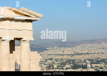 The Temple of Athena Nike on the Acropolis of Athens with a view of the city in Athens, Greece. - Stock Photo