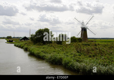 Turf Fen Drainage Mill - one of many small wind-assisted drainage mills found on the banks of the Norfolk Broads - Stock Photo