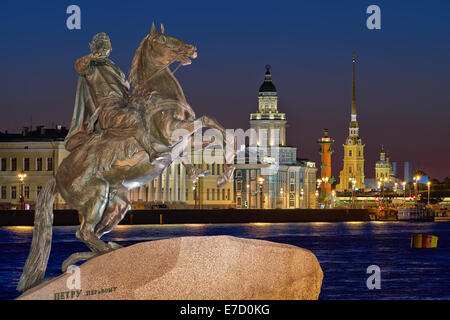 Night view of the center ST.PETERSBURG, and the monument Peter 1 - Stock Photo